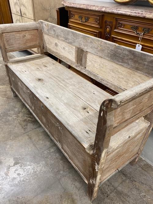 Vintage Rustic Farmhouse Bench + Storage