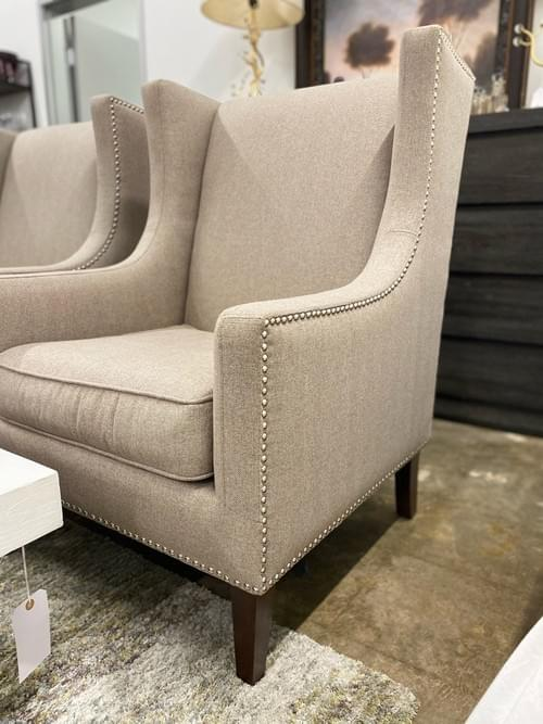 Grey Upholstered Wingback Accent Chair Set