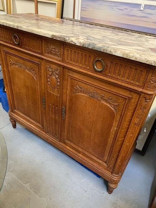 Antique Buffet with Red Marble Top