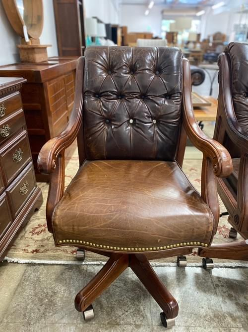 Nailhead Leather Rolling Desk Chairs