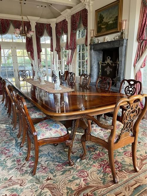 Duncan Phyfe English Dining Table + 14 Chairs
