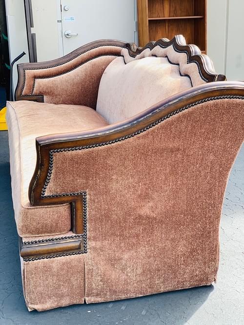 Dark Wood Lined Brown Crush Velvet Sofa