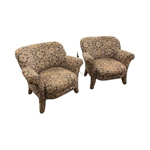 Arm Chairs With A Floral Geometric Pattern