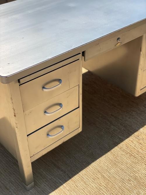 "Vintage Retro ""Art Metal"" Tanker Executive Desk Metal Grey"