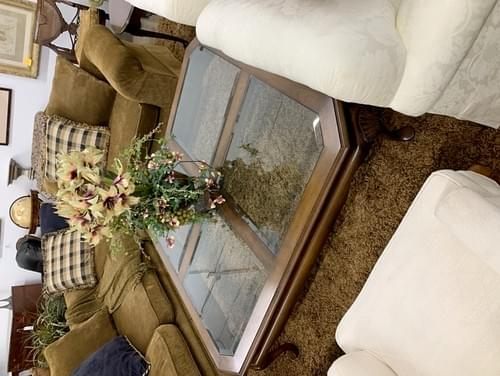 Large Wood Coffee Table with Four Glass Panel Tops