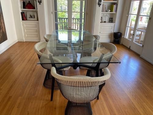 "CB2 Glass Dining Table w/ Black Metal Base & Warren Platner 30"" Fabric Dining Chair"
