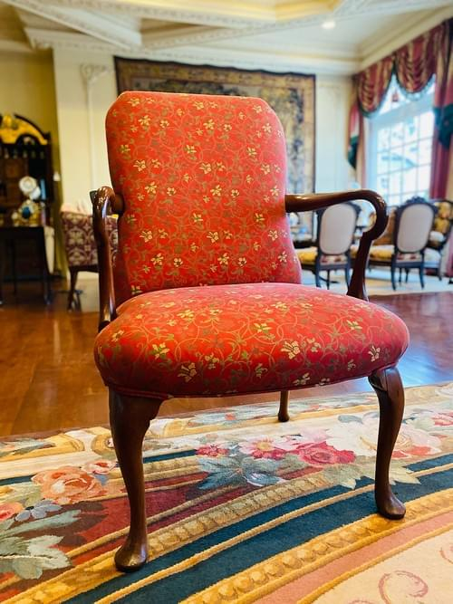 Antique Arm Chair with Red and Gold Accents