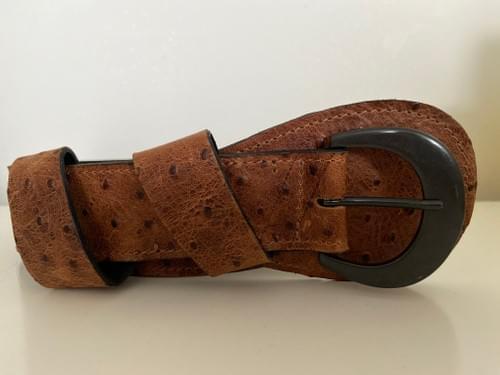 Brown ostrich saddle