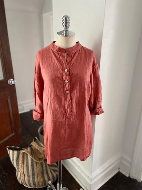 Rust Three button Linen Tunic