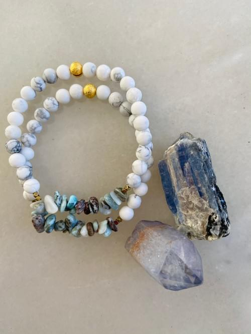 Larimar and Howlite Yoga Bracelet