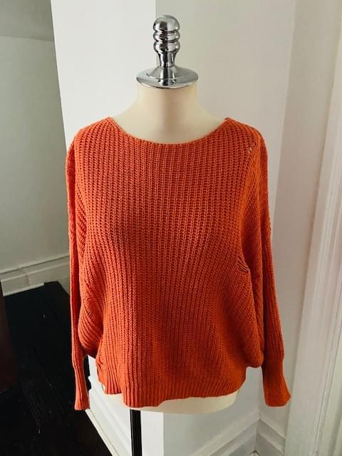 Distressed Orange Cotton Sweater