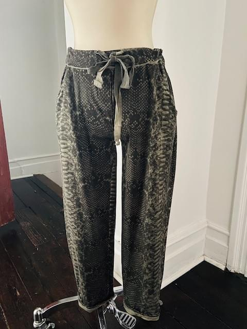 Green Faux Snake Skin Cotton Pant NOW ON SALE