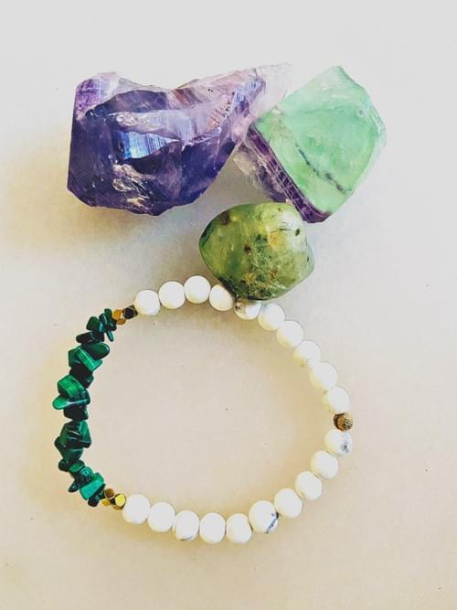 Malachite and Howlite Yoga Bracelet