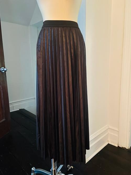 Black Faux Suede Long  Pleated Skirt NOW ON SALE
