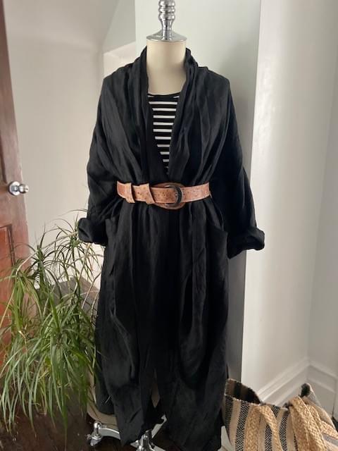 Black Georgia O'Keeffe Linen  Coat