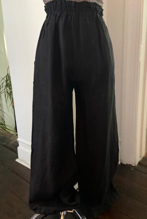 Black wide Leg Linen Pants