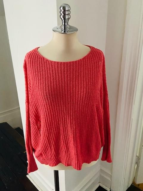 Distressed Coral Pink Cotton Sweater