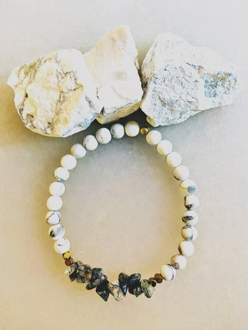 Tourmaline Quartz and Howlite Yoga Bracelet