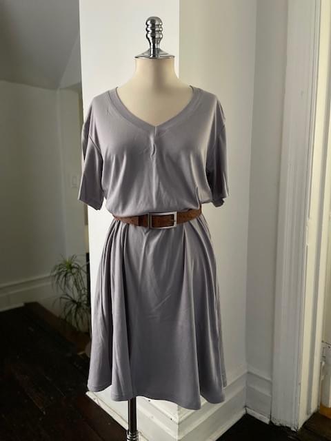 Silver Grey V Neck T- Shirt Dress