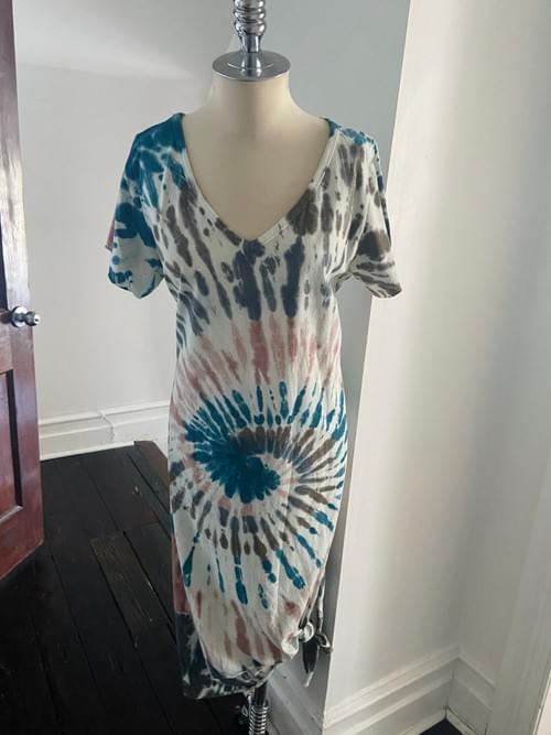 V Neck Tie Dye Jersey Dress