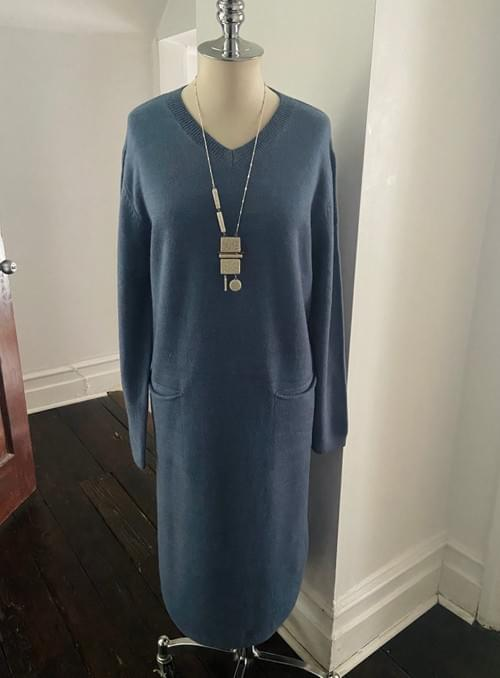 Long V Neck Sweater Dress