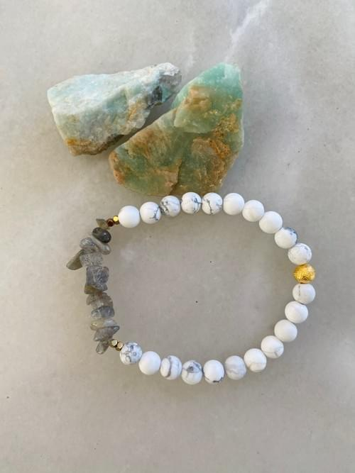 Labradorite and Howlite Yoga Bracelet