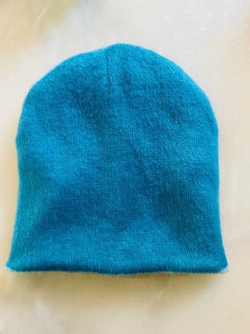 Ivory Blue Alpaca Reversible Hat