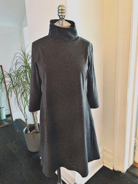Charcoal Grey Turtleneck Dress