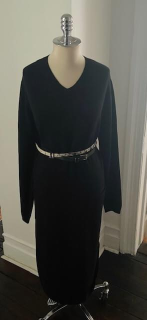 Long V Neck Sweater Dress