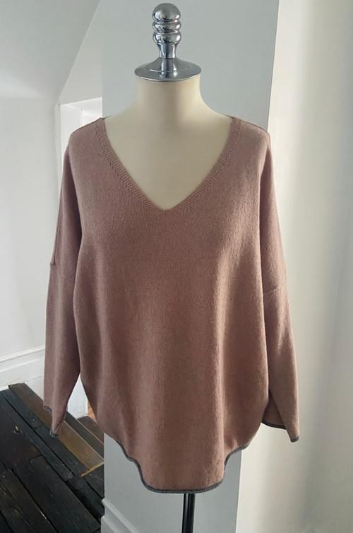 Dusty Rose V Neck Sweater