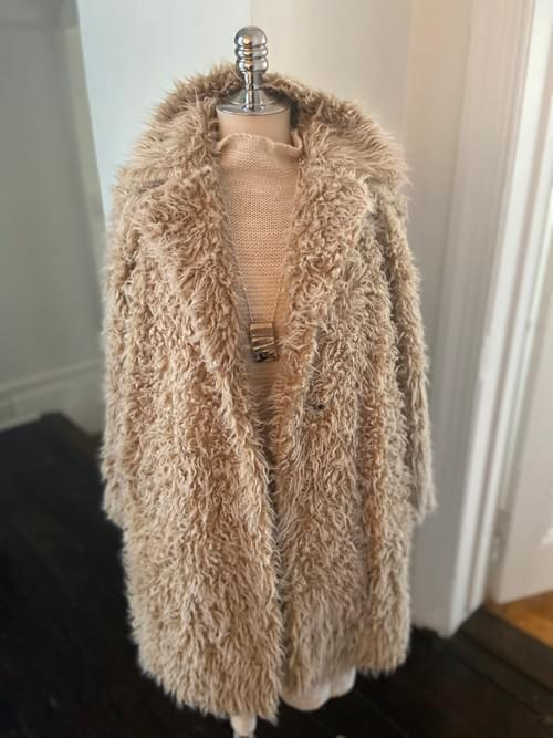 Beige Faux Fur Coat NOW ON SALE
