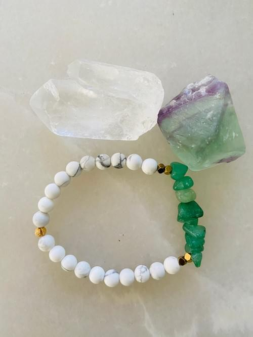 Aventurine and Howlite Yoga Bracelet