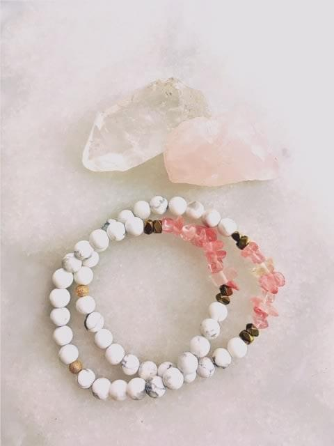Rose Quartz and Howlite IMWYRED Yoga bracelet