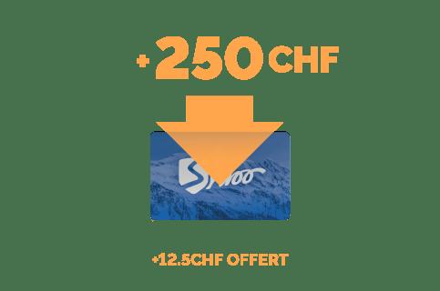 Recharge de 250 CHF + 12,5 CHF gratuits