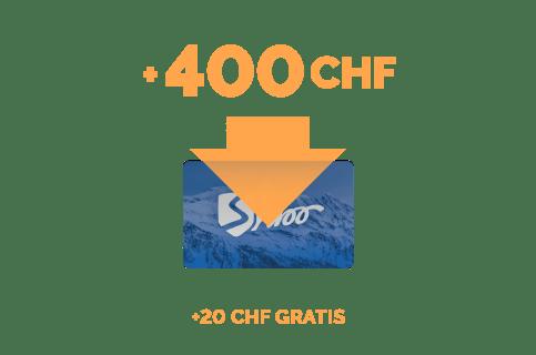 Ricarica di 400 CHF + 20 CHF gratis