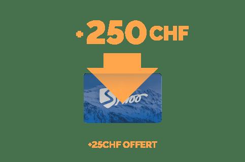 Recharge de 250 CHF + 25CHF offert