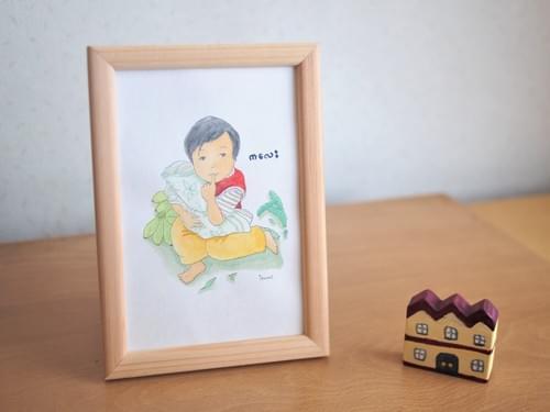 水彩原画【市場で赤ちゃんみたいにタオルを抱っこする女の子】iw001