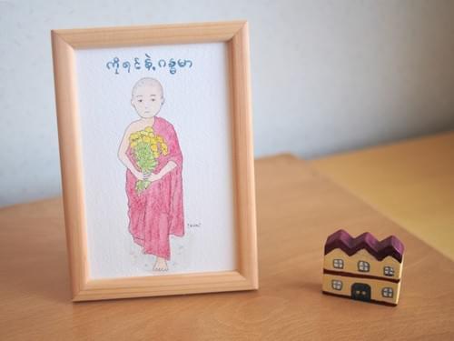 水彩原画【パダウの花を持った少年僧】iw004