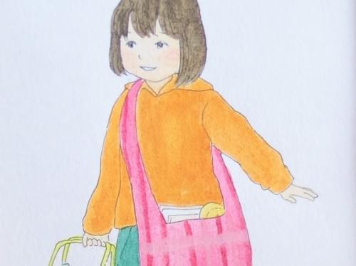 水彩原画【お弁当を持って通学する女の子】iw002