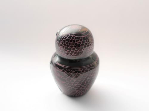 漆のフクロウの小物入れ tat101