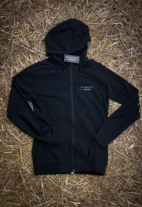 ELEMENTA Black Zipped hoody for men