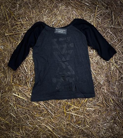 ELEMENTA Black Mid-sleeves T-shirt for ladies