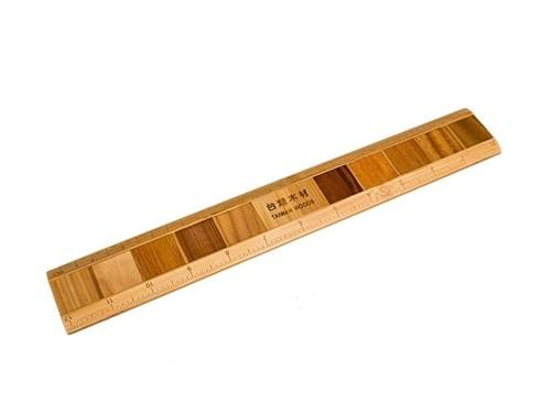 Elegant Bamboo Ruler with 10 Embedded Wood Pieces