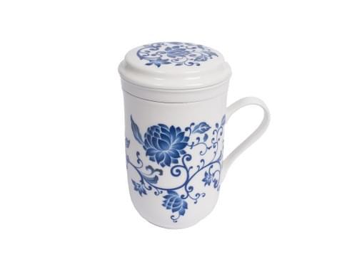 青花白瓷茶こし機能付けるマグ
