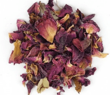 Organic Red Rose Petals - Rosa species - 1 cup