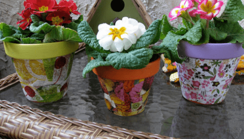 "Make a Set of Decoupage Flower Pots (8"" & 6"")  Crafting Workshop with Katherine Justice March 27th"