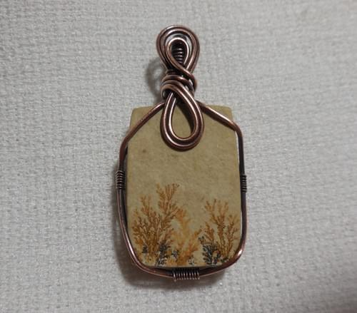 Ciondolo Amuleto in Dendriti di Manganese e Rame