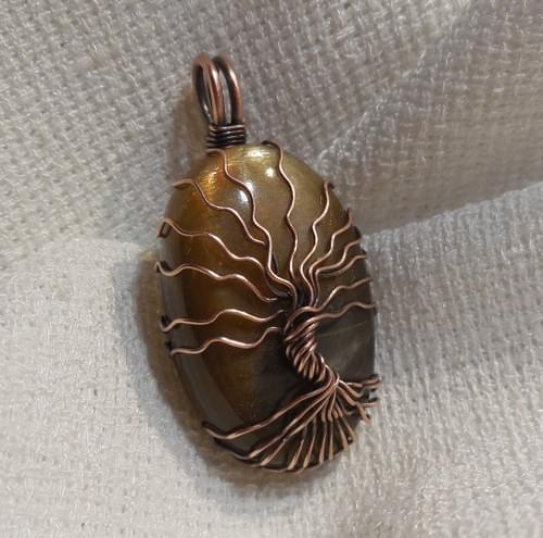Ciondolo Albero della Vita in Pietra di Sole (Eliolite) e Rame
