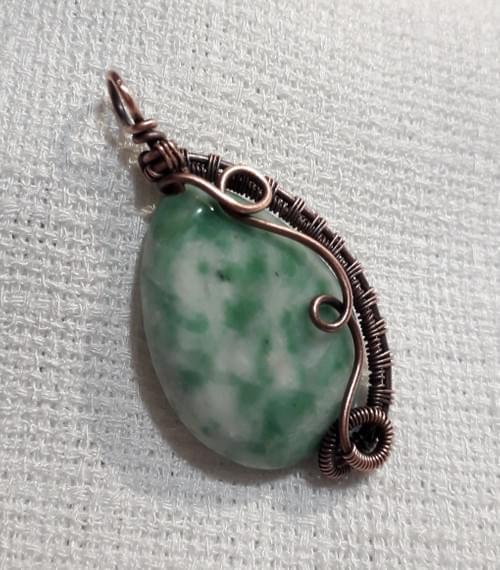 Ciondolo Amuleto reversibile in Agata Arborizzatae Rame