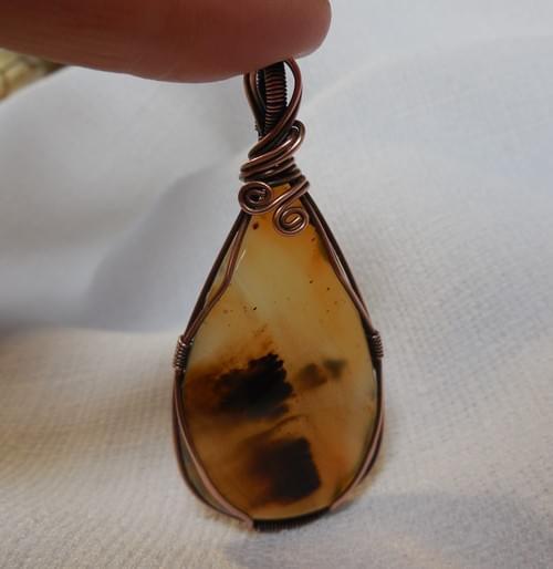 Ciondolo Amuleto in Agata Dendritica e Rame